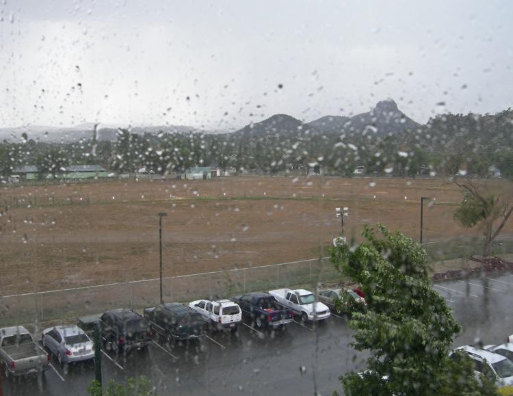 monsoon rain on window