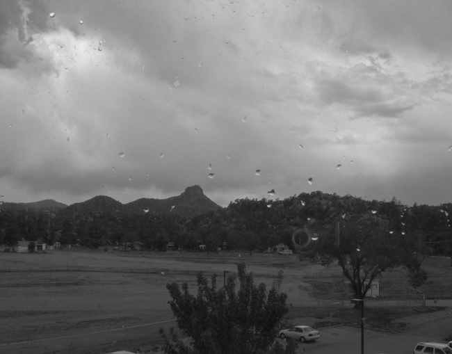 Thumb Butte in Rain - B&W