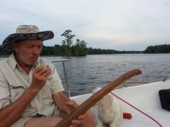 Captain Petur on the tiller