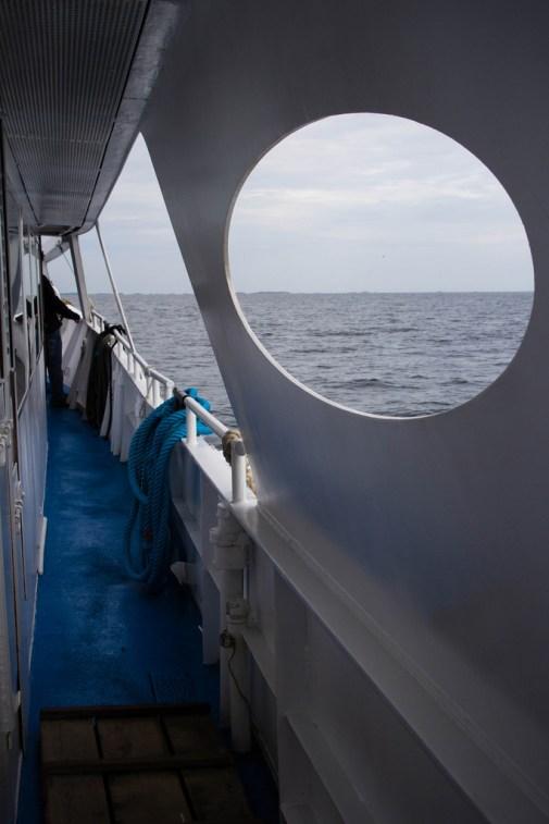 Dans le bateau nous menant aux iles Chausey.