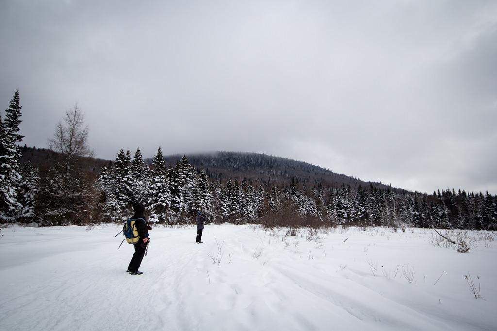 Touristes en bord de lac gelé.