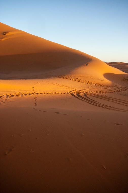 Des traces sur les dunes, Merzouga.