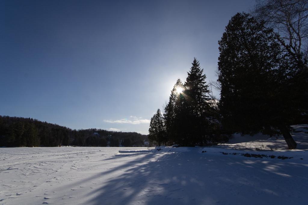 Balade sur le lac gelé, sous un beau ciel bleu.