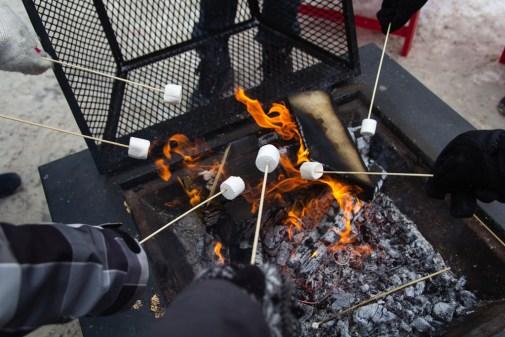 Chamallows grillés au feu de bois.