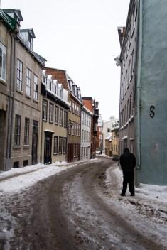Rues enneigées de Québec City.