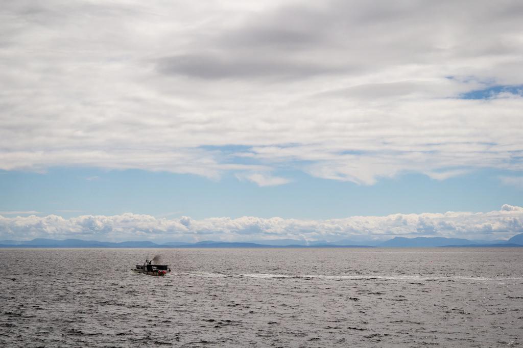 Petit bateau et l'ile de Vancouver au loin.