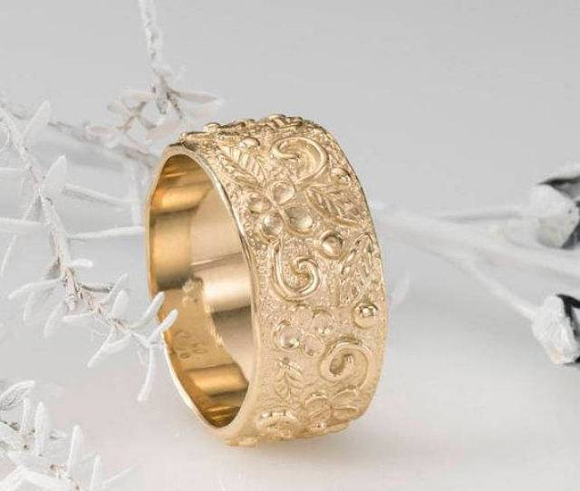Gold Wedding Band K Yellow Gold Wedding Ring For Women Handmade Floral Ring Wide Gold Ring Bridal