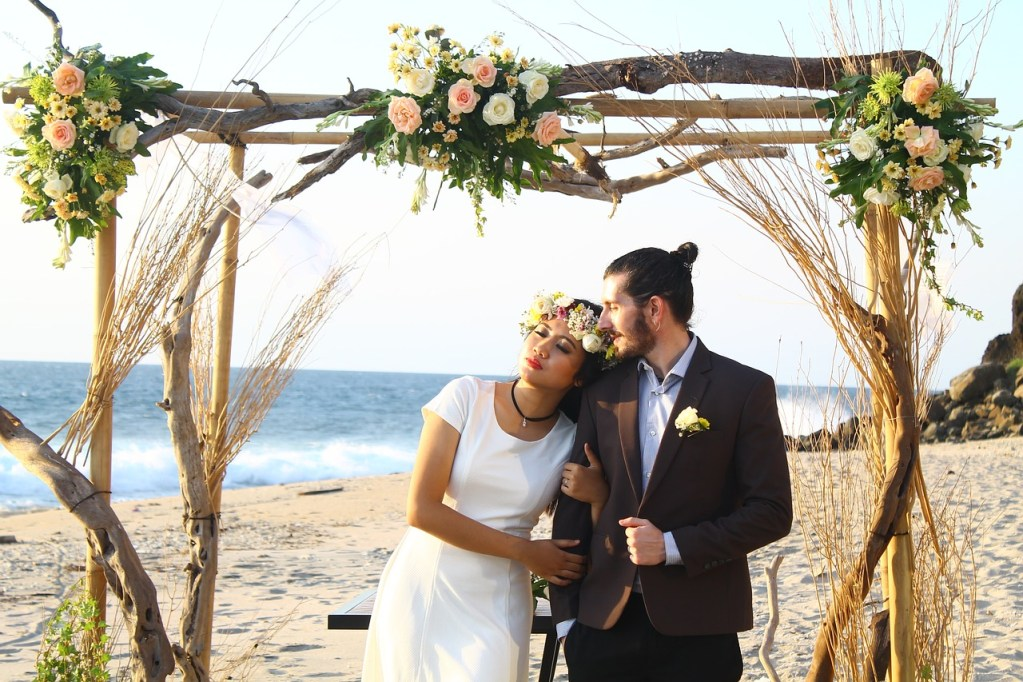 wedding, beach, couple