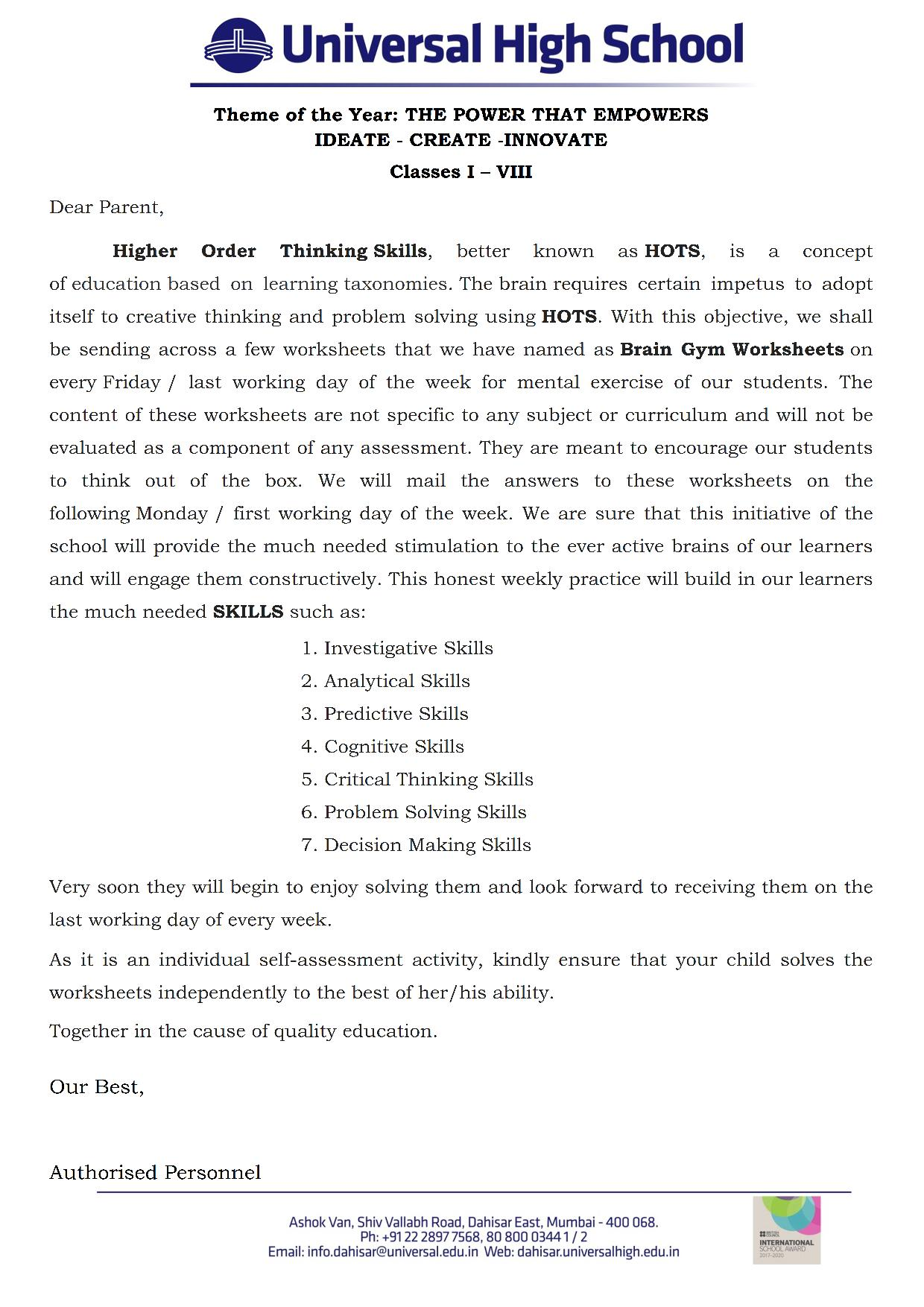 Classes I To Viii Brain Gym Worksheets