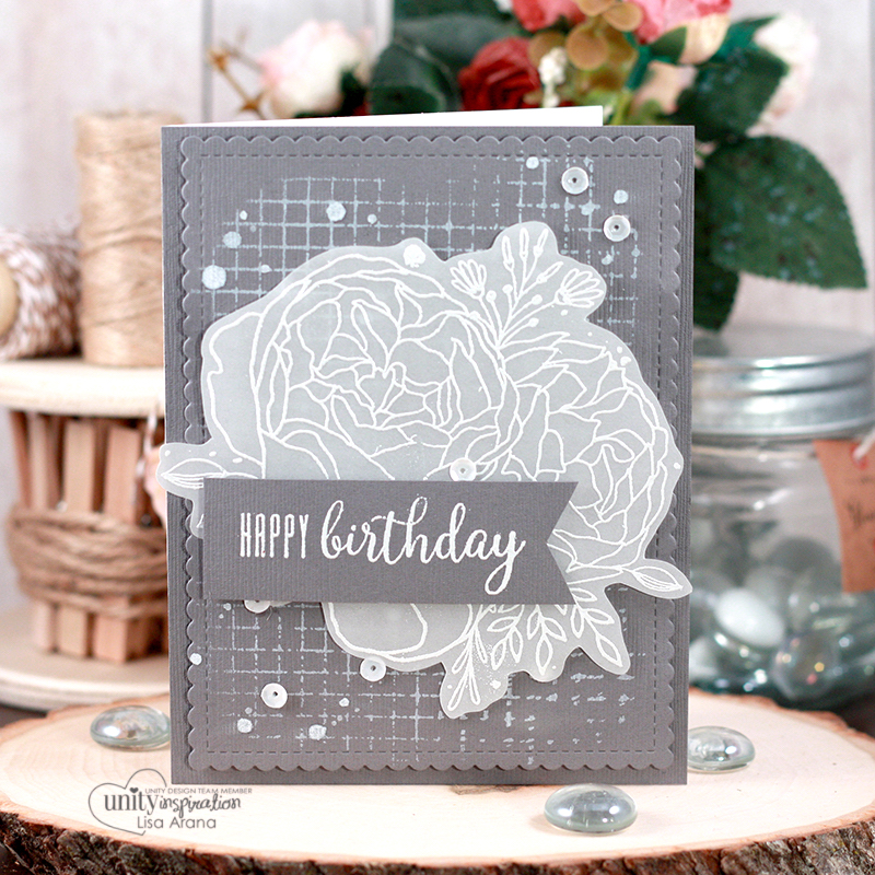 An elegant birthday card done in monochromatic grey and white with stamping on vellum. Lots of stamping and layering for this handmade card idea. All stamps are from Unity Stamp Company - Girl Truly, Abundant Blessings & Worn Grid. #handmade #card #idea #birthday #embossing #vellum