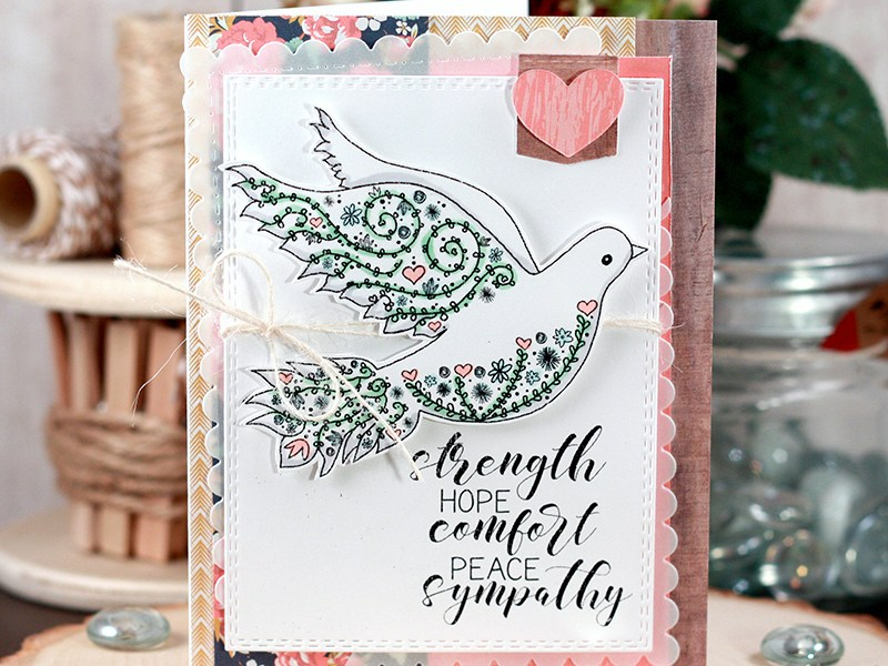 Sharing a sympathy card with lots of layers without the bulk for an easy card using up patterned paper scraps. All stamps are by Unity Stamp Company. More inspiration at dahlhouse-designs.com #handmade #cardmaking #card #ideas #howto #tutorial #video #papercrafts #unitystampco #diecutting #sympathy #dove #copics #fancypants #mftstamps