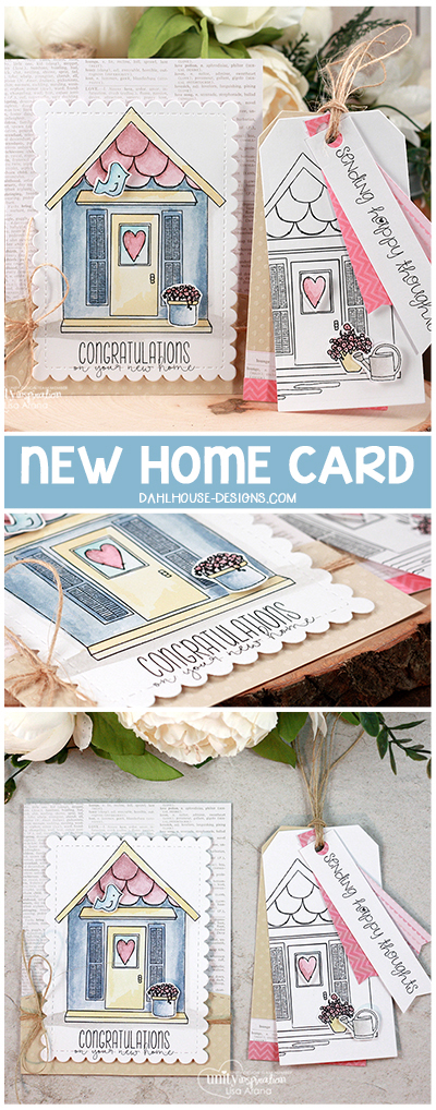 Sharing a card and tag combo to congratulation someone on their new home. Colored with Distress Ink markers with Unity Stamp Company stamps. Details on dahlhouse-designs.com.  #dahlhousedesigns #handmade #stamping #cardmaking #card #ideas #howto #tutorial #video #papercrafts #unitystampco #diecutting #newhome #congratulations #congrats #distressink #markers #watercolor