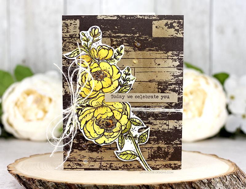 Sharing a card idea for this shabby chic birthday card with a tutorial and quick video. The images are from the You are Forever Beautiful & Barn Wall background Unity Stamp Company stamp sets. More inspiration on dahlhouse-designs.com.   #cardmaking #cardmaker #cards #stamping #dahlhousedesigns #unitystampco #ideas #diy #howto #tutorial #video #handmadecards #diecutting #birthday #brutusmonroe
