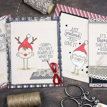 Sharing some funny and sassy Christmas cards with a tutorial and quick video. Some simple Copic coloring, die cutting and sassy sentiments. Lots of great card layout ideas as well. The images are from the Spoiler Alert and By Golly Be Jolly Unity Stamp Company stamp sets. More inspiration on dahlhouse-designs.com. #cardmaking #cardmaker #cards #stamping #dahlhousedesigns #unitystampco #handmadecards #diecutting #diy #carddesign #cardcraft #christmas #sassycards