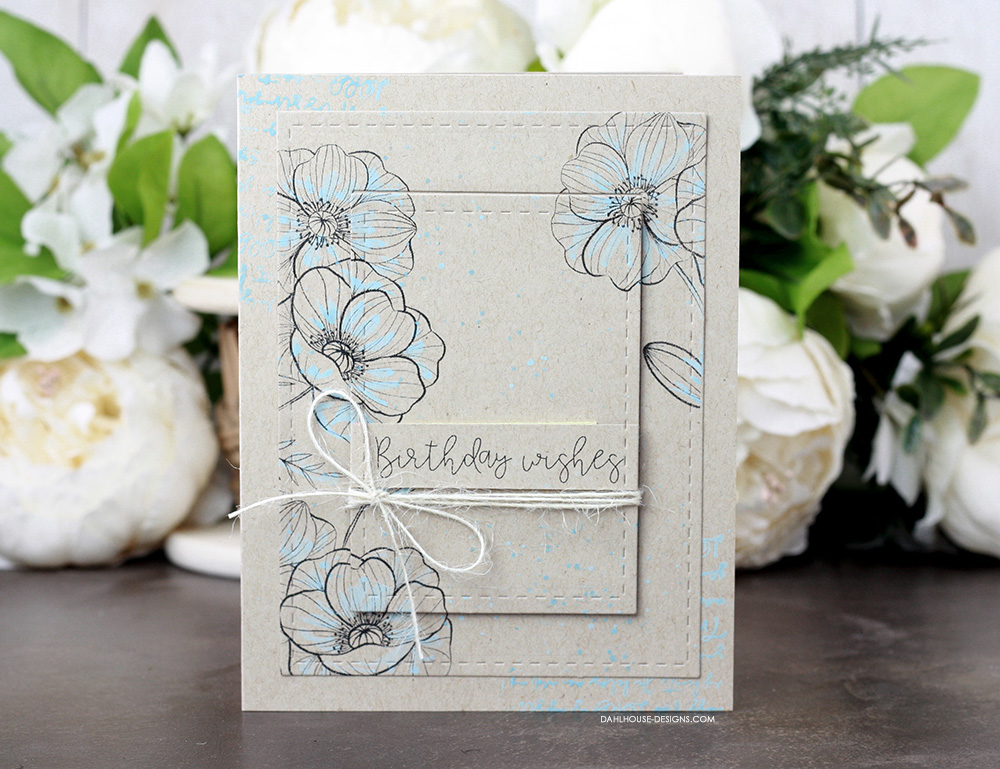 Sharing a simple card using the tiered die cut technique with a tutorial & video. The images are from the Aging Gorgeously Unity Stamp Company stamp set. More inspiration on dahlhouse-designs.com. #cardmaking #cardmaker #cardmakingideas #cardinspiration #simplecards #stamping #dahlhousedesigns #unitystampco #handmadecards #diecutting #carddesign #cardtechnique #distressoxides #timholtz