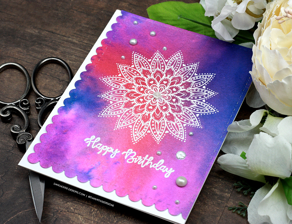Sharing a simple card technique using Distress Spray Inks with a tutorial & quick video. The images are from the Doily Hugs and Wishes Unity Stamp Company stamp set. More inspiration on dahlhouse-designs.com. #cardmakingideas #cardmaker #cardmakingideas #cardinspiration #simplecards #rubberstamps #dahlhousedesigns #unitystampco #handmadecards #carddesign #craftersgonnacraft #distressink #watercolor #cardtechnique #greetingcard #papercrafting #papercrafts