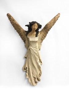 hvit engel Ingun Dahlin keramikk skulptur