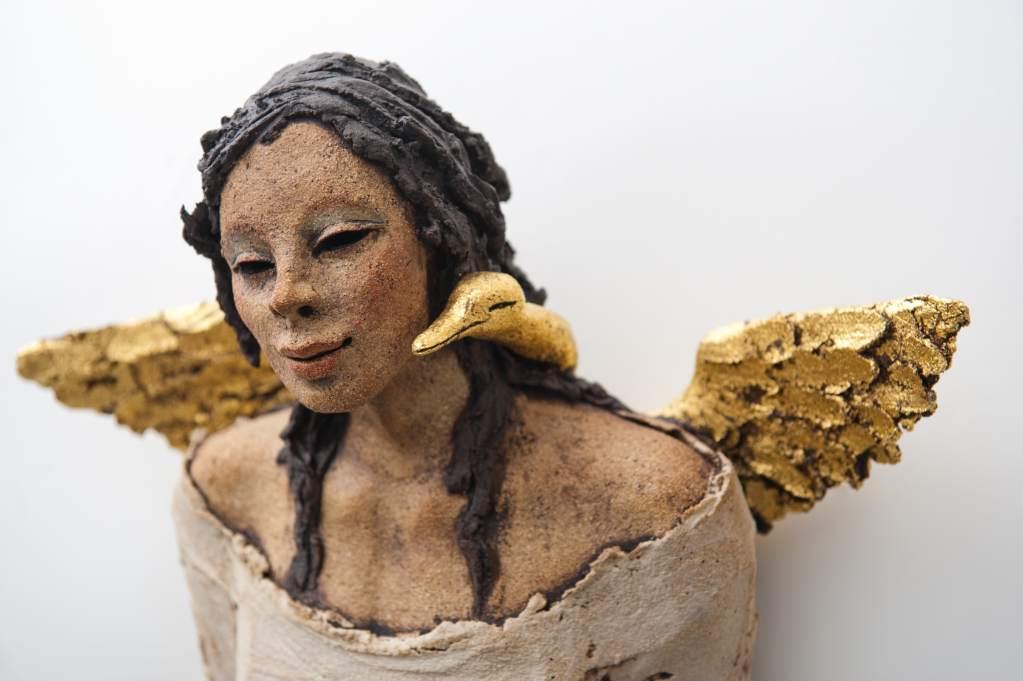 Gullfuglen, skulptur, keramikk, Ingun Dahlin