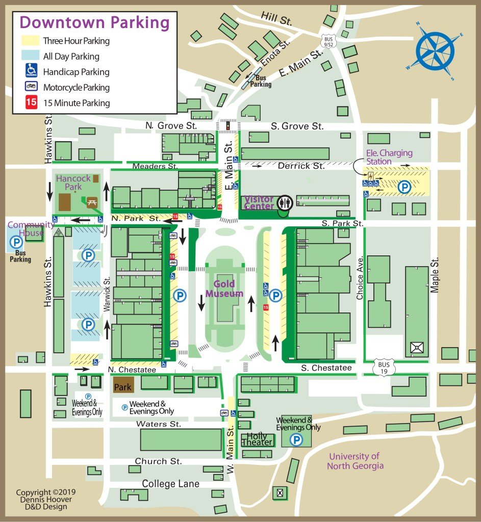 Map of downtown dahlonega, displaying designated parking areas