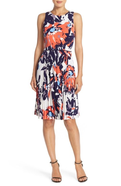 Maggy London Pleated Fit & Flare Dresses