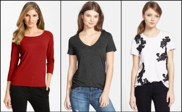 Choose the most flattering neckline and sleeve style to make T-shirts work for you. (Nordstrom)