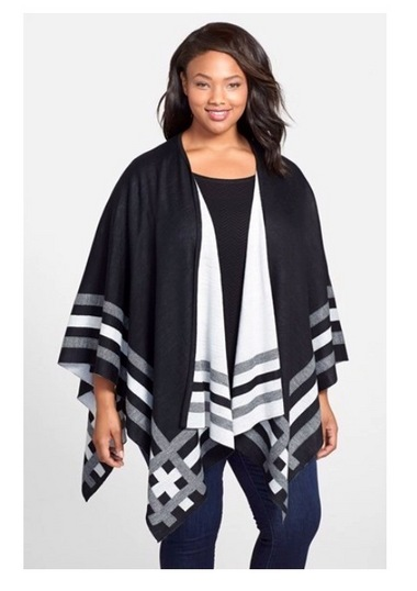 Balancing a dramatic silhouette like the poncho with a slim leg will create balance