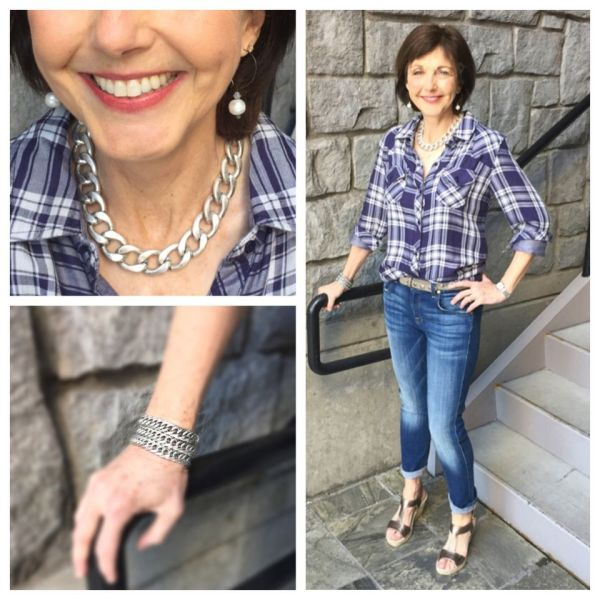 Mother Kerry Lau: A chain necklace can add edginess to a classic look. Sandals from Soletta in Lake Oswego.
