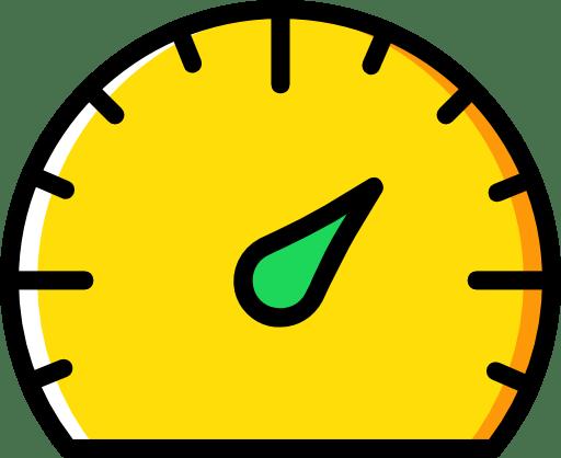 Un compteur jaune avec une aiguille verte. Icone représentant le SEO, le reférencement naturel.