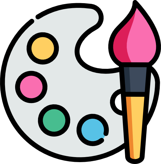 Palette de peinture avec pinceau. Icone représentant le graphisme