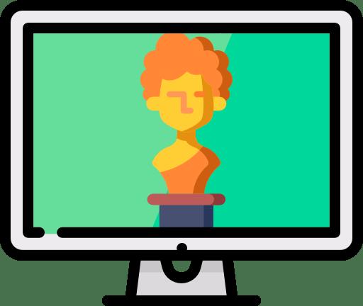 Sculpture d'un buste dans un écran d'ordinateur. Icone représentant les sites d'art.