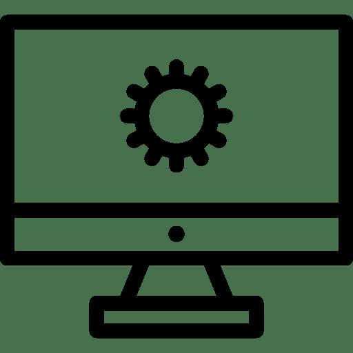 Un rouage sur un fond d'écran d'ordinateur. Icone représentant le web développement.