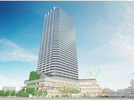 再開発エリアである北区上十条で建築予定のタワーマンションの外観パースになります。