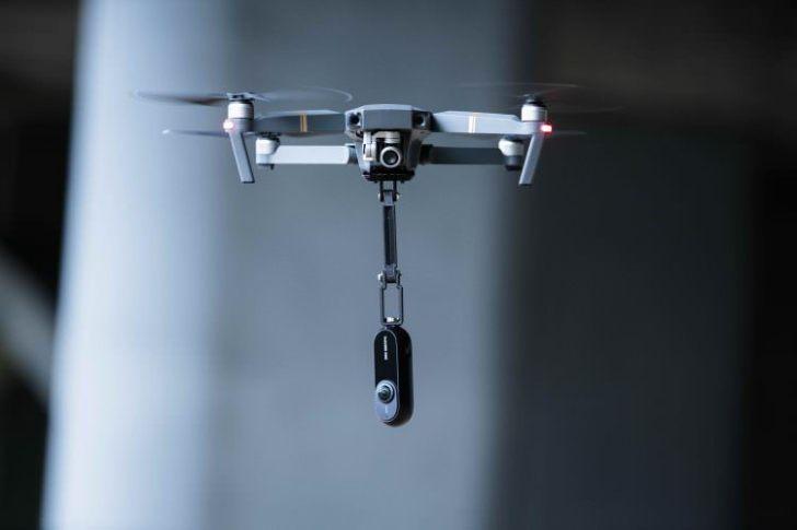 360度カメラinsta360をドローンを使って撮影可能