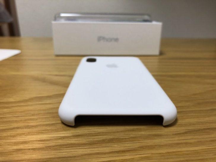 iphoneXのapple純正シリコンケースのホワイトの下