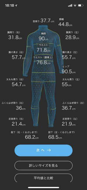 zozosuitで体の測定結果画面