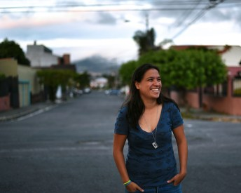Costa Rica, San Jose – Erika, half Mexican / half Tica, fearing for her life as I shoot her on the street.