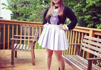 Lavender Skirt and Glitterhell Shirt