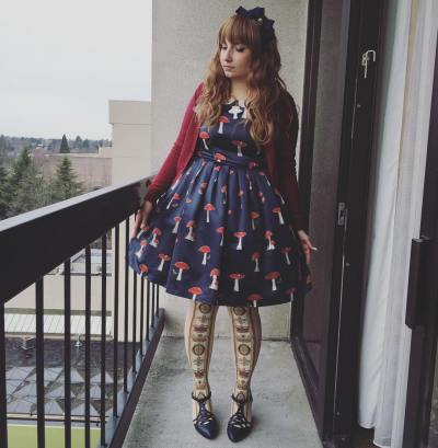 My first attempt at styling The Woodland Path JSK in a lolita outfit. Socks are from Angelic Pretty, cardigan from BTSSB, bow is from Innocent World, and shoes are from Bait Footwear.