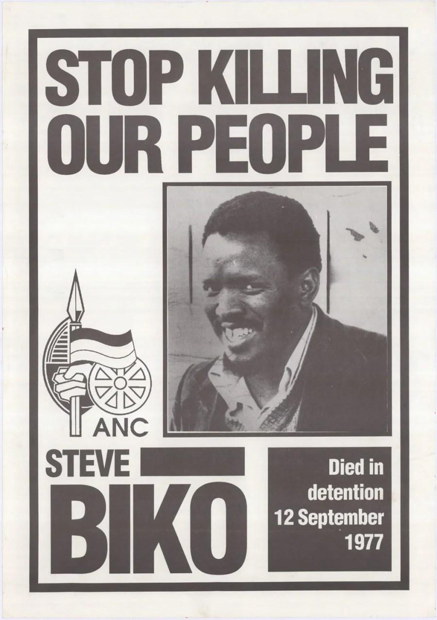 Une affiche répondant au meurtre de Steve Biko