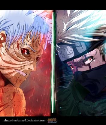 Naruto 686 Obito and Kakashi by ghazwi