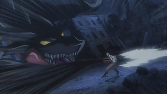 Gajeel hit by Dragon