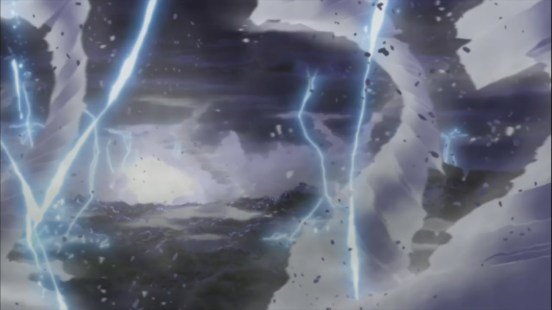 Ten Tail's scream causes lightning thundr and explosions