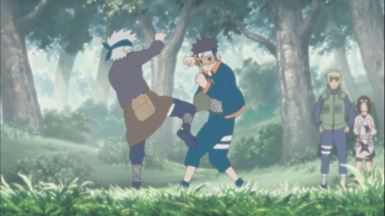 Young Kakashi and Obito train fight