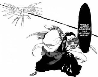Shunsui's Thread Cutting Scissors on a Bloodied Throat