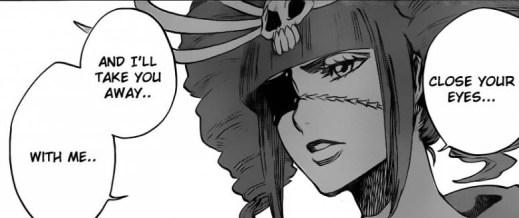 Sakuranosuke tells Shunsui to close his eyes