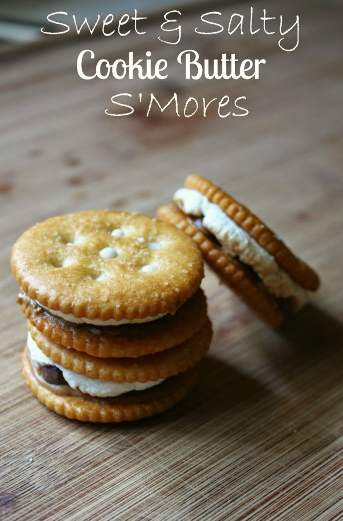 A sweet and salty s'mores snack. Made with Ritz crackers, Trader Joe's Cookie Butter, marshmallows and chocolate chips. Made in a toaster oven. No fire needed s'mores!
