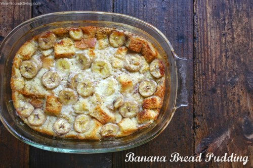 Warm banana bread pudding with a vanilla sauce drizzle. A warm comforting dessert that even tastes great leftover. Eat this banana bread pudding cold the next morning with your cup of coffee.