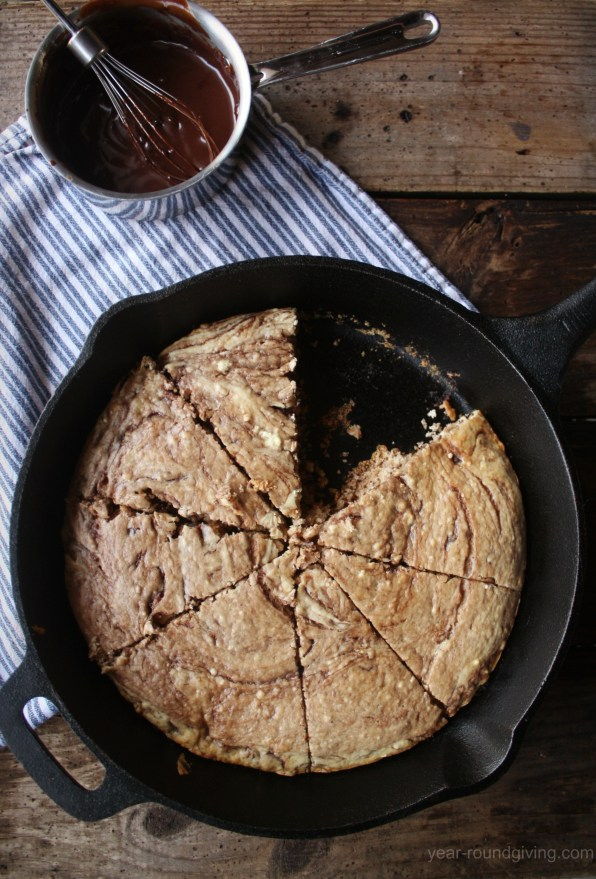 Banana Nutella Swirl Pancake with warm Nutella Sauce