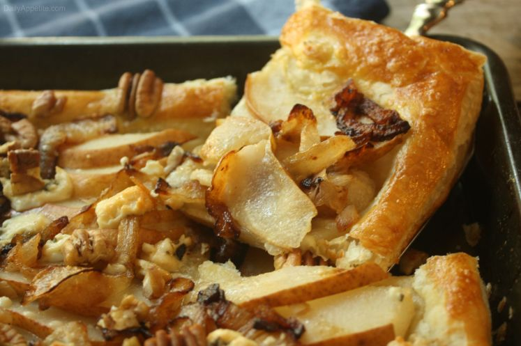 Pear Gorgonzola Tart with Caramelized Onions and Pecans