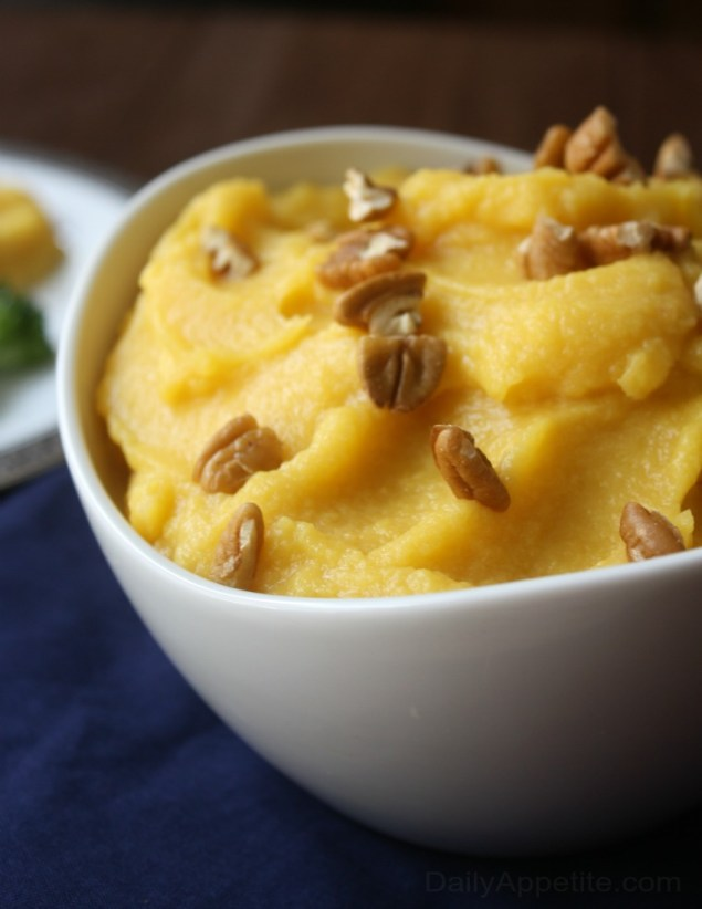 Acorn Squash Puree is a wonderful side dish or sweet edible garnish for your Thanksgiving Dinner. Sprinkle on some crunchy pecans for added texture.